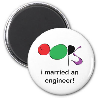 i married an engineer 6 cm round magnet