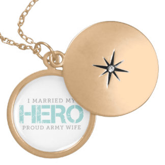 I Married My Hero - Army Wife Gold Plated Necklace
