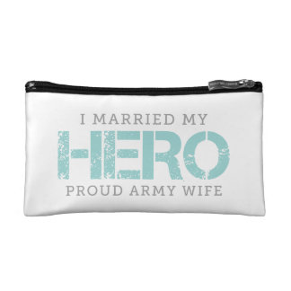 I Married My Hero - Army Wife Makeup Bags
