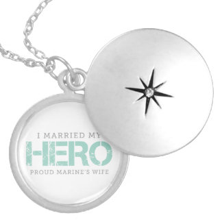 I Married My Hero - Marine's Wife Round Locket Necklace