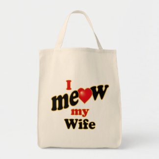 I Meow My Wife Tote Bags