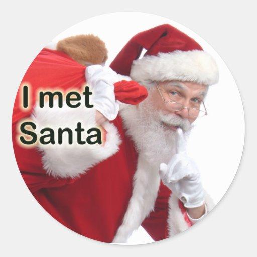 I met santa round sticker zazzle