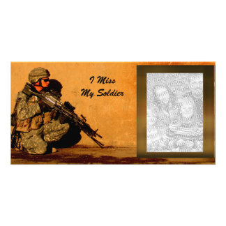 I Miss My Soldier Custom Military Picture Personalised Photo Card