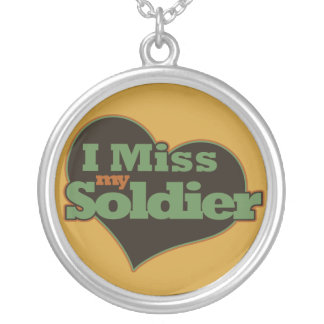 I Miss my Soldier Round Pendant Necklace