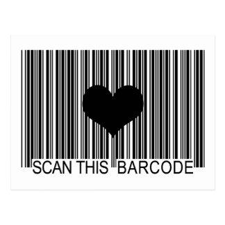 I MISS YOU BARCODE POSTCARD