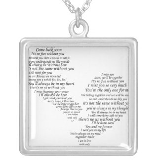 I Miss You - Broken Separated Heart Silver Plated Necklace