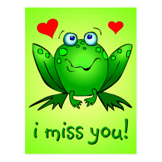 I Miss You Cute Green Frog Hearts Postcard