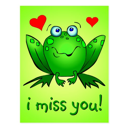 I Miss You Cute Green Frog Hearts Post Card