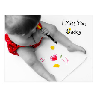 I Miss You Daddy I Love You Dad With Red Heart Postcard
