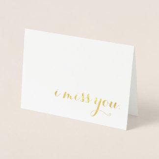 i miss you gold foil foil card