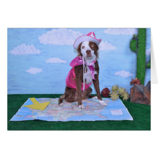 """""""I miss you"""" humorous card, features cowgirl dog Card"""