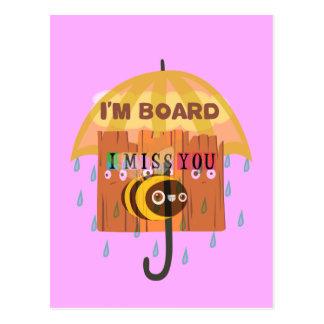 I Miss You in the rain I am bored Postcard