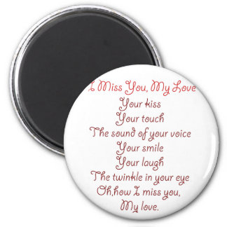 I Miss You, My Love Poem Red on Red 6 Cm Round Magnet