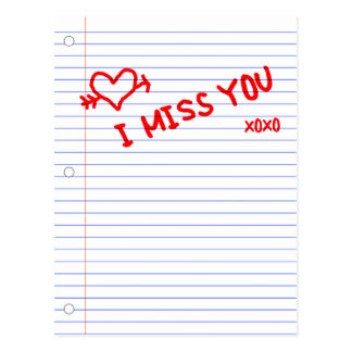 i miss you notebook paper postcard