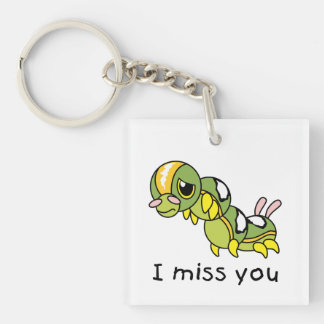 I Miss You Sad Lonely Crying Weeping Caterpillar Double-Sided Square Acrylic Key Ring
