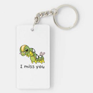 I Miss You Sad Lonely Crying Weeping Caterpillar Rectangular Acrylic Keychains