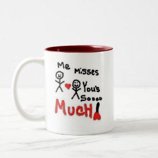 I Miss You So Much Cartoon Two-Tone Mug