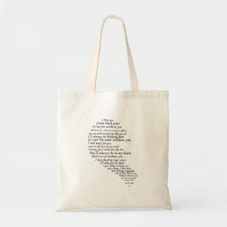 I Miss You  Text in Half of Heart Canvas Bag