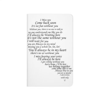I Miss You  Text in Half of Heart Journals