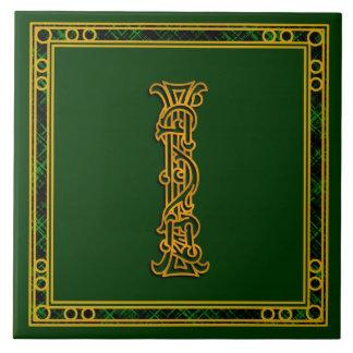 "I Monogram ""Irish Gold on Green"" Ceramic Tiles"