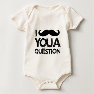 I moustache you a question (distressed design) baby bodysuit