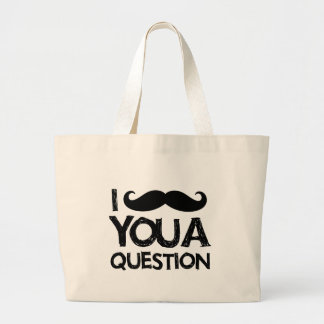 I moustache you a question (distressed design) canvas bags