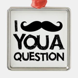 I moustache you a question (distressed design) christmas ornament