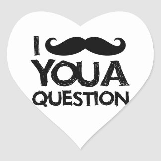 I moustache you a question (distressed design) heart sticker