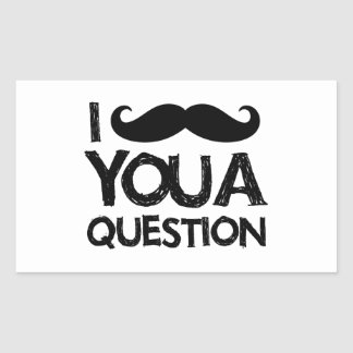 I moustache you a question (distressed design) rectangular sticker