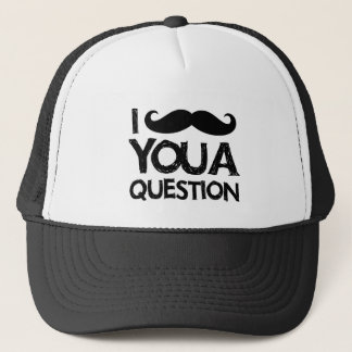 I moustache you a question (distressed design) trucker hat