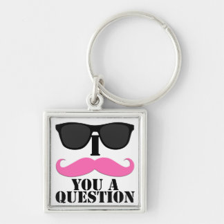 I Moustache You A Question Pink with Sunglasses Key Chain