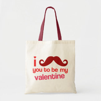 i moustache you to be my valentine bag