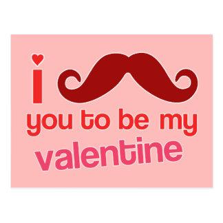 i moustache you to be my valentine postcard