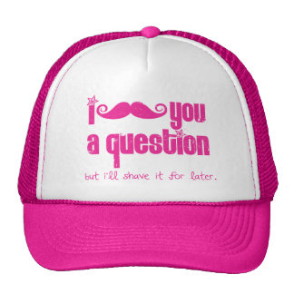I mustache you a question (distressed) trucker hats