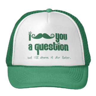 I mustache you a question (distressed) mesh hat