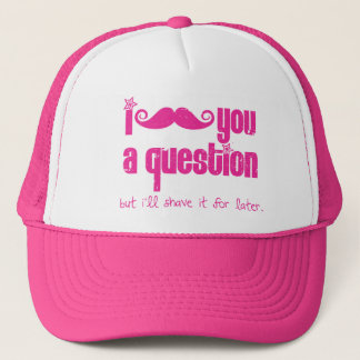 I mustache you a question (distressed) trucker hat
