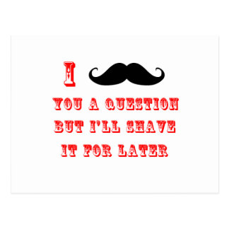I Mustache You a Question Funny Image Red Black Postcard