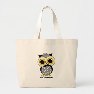 I mustache you a question owl large tote bag