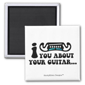 I Mustache You About Your Guitar Square Magnet