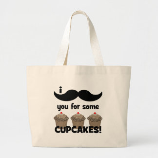 I mustache you for some cupcakes large tote bag