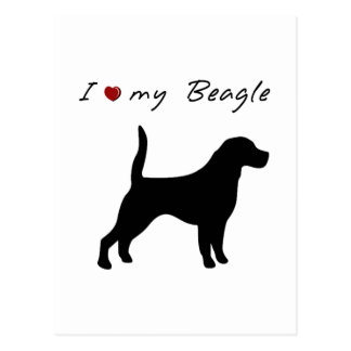 I ❤ my  Beagle with  dog silhouette Postcard