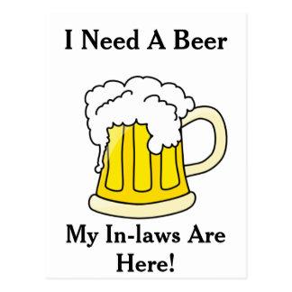 I Need A Beer Postcard
