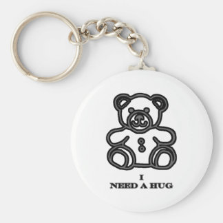 I Need A Hug Bear Black jGibney The MUSEUM Zazzle Basic Round Button Key Ring