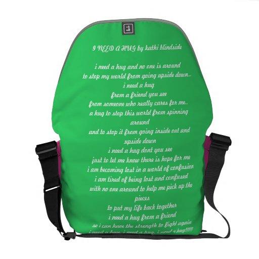 I NEED A HUG POEM  saddle bag Messenger Bags