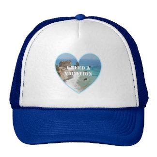 I Need A Vacation Beach Heart Hat