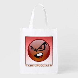 I NEED CHOCOLATE REUSABLE GROCERY BAG