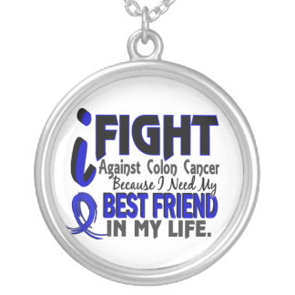I Need My Best Friend Colon Cancer Silver Plated Necklace