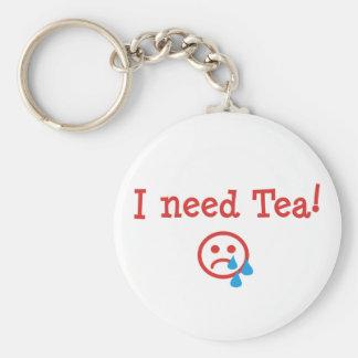 I need Tea! Basic Round Button Key Ring