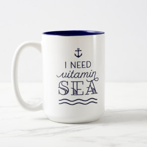 I Need Vitamin Sea 15oz Navy Two-Toned Mug