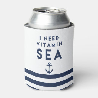 I Need Vitamin Sea Navy Anchor Quote Can Cooler
